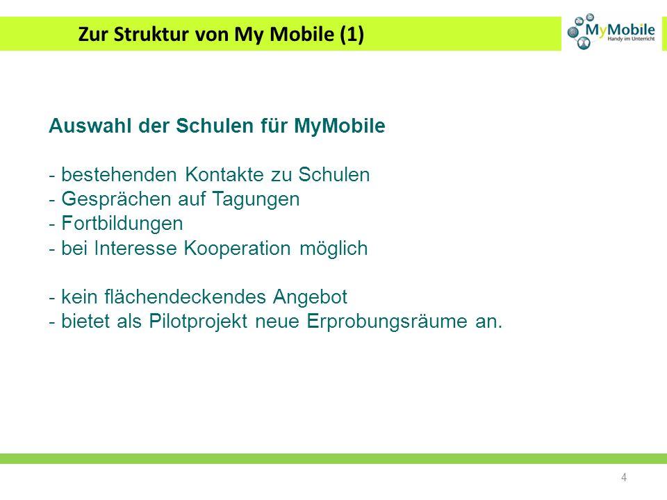 4 Zur Struktur von My Mobile (1) Auswahl der Schulen für MyMobile - bestehenden Kontakte zu Schulen - Gesprächen auf Tagungen - Fortbildungen - bei In