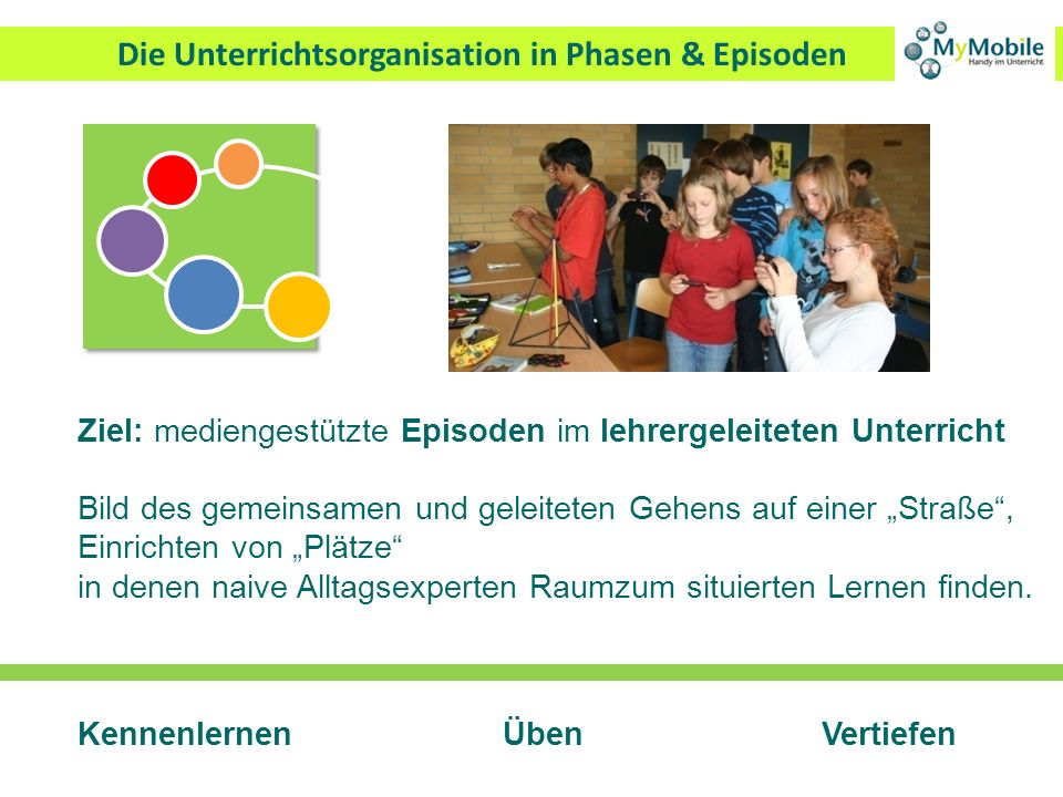 Die Unterrichtsorganisation in Phasen & Episoden Ziel: mediengestützte Episoden im lehrergeleiteten Unterricht Bild des gemeinsamen und geleiteten Geh
