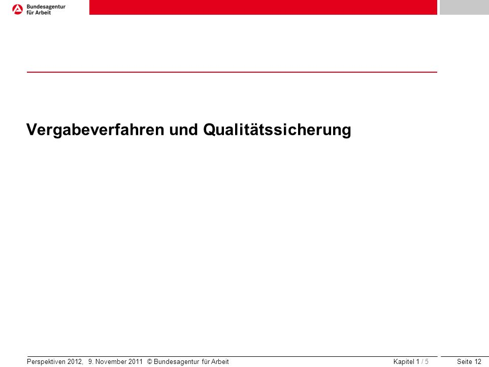 Seite 12 Perspektiven 2012, 9. November 2011 © Bundesagentur für Arbeit Vergabeverfahren und Qualitätssicherung Kapitel 1 / 5