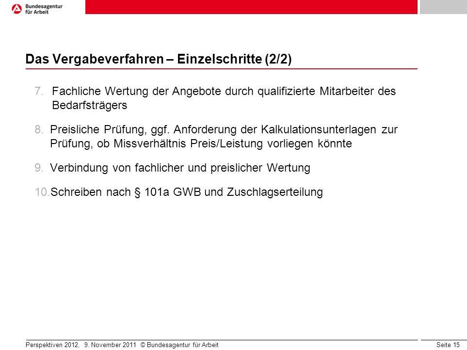 Seite 15 Perspektiven 2012, 9. November 2011 © Bundesagentur für Arbeit Das Vergabeverfahren – Einzelschritte (2/2) 7.Fachliche Wertung der Angebote d