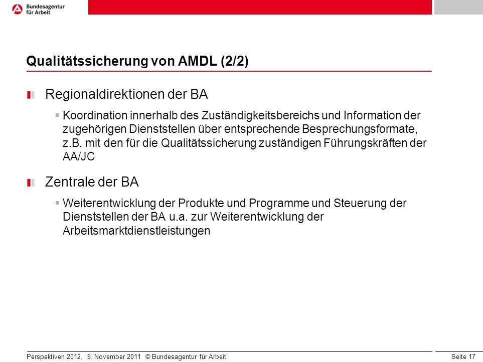 Seite 17 Perspektiven 2012, 9. November 2011 © Bundesagentur für Arbeit Qualitätssicherung von AMDL (2/2) Regionaldirektionen der BA Koordination inne