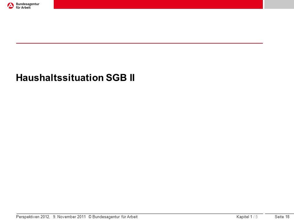 Seite 18 Perspektiven 2012, 9. November 2011 © Bundesagentur für Arbeit Haushaltssituation SGB II Kapitel 1 / 5