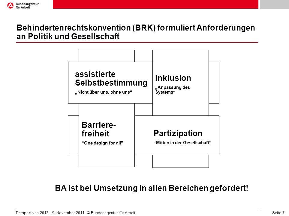 Seite 8 BRK löst Handlungsbedarf für Deutschland und die BA aus infrastruktureller / kommunikationstechnischer Barrierefreiheit inklusiver schulischer Bildung inklusiver beruflicher Bildung inklusiver Beschäftigung Handlungsbedarf bei… Nationaler Aktionsplan der Bundes- regierung (NAP) Perspektiven 2012, 9.