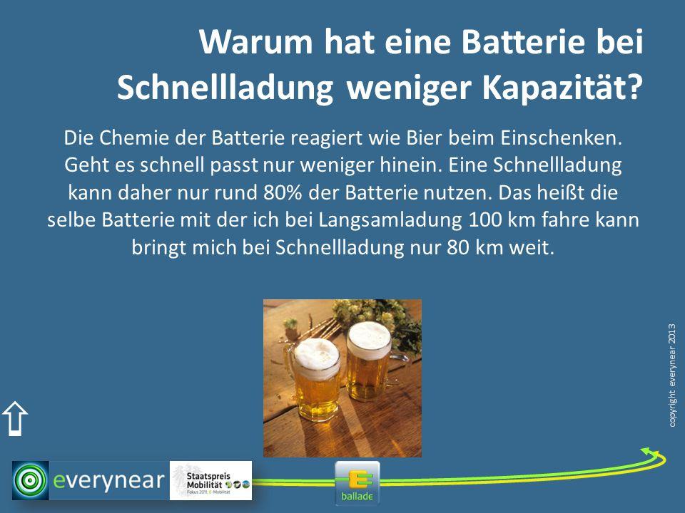 copyright everynear 2013 Warum hat eine Batterie bei Schnellladung weniger Kapazität? Die Chemie der Batterie reagiert wie Bier beim Einschenken. Geht