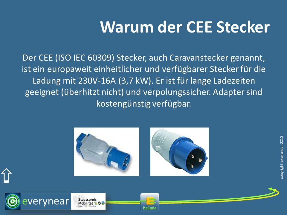 copyright everynear 2013 Warum der CEE Stecker Der CEE (ISO IEC 60309) Stecker, auch Caravanstecker genannt, ist ein europaweit einheitlicher und verfügbarer Stecker für die Ladung mit 230V-16A (3,7 kW).