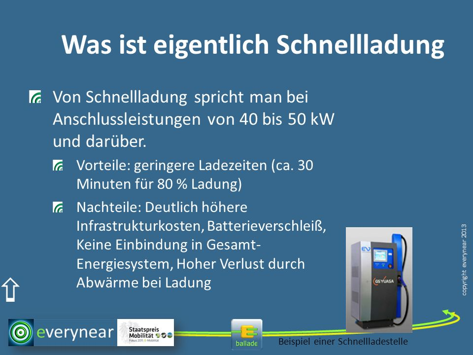 copyright everynear 2013 Was ist eigentlich Schnellladung Von Schnellladung spricht man bei Anschlussleistungen von 40 bis 50 kW und darüber. Vorteile