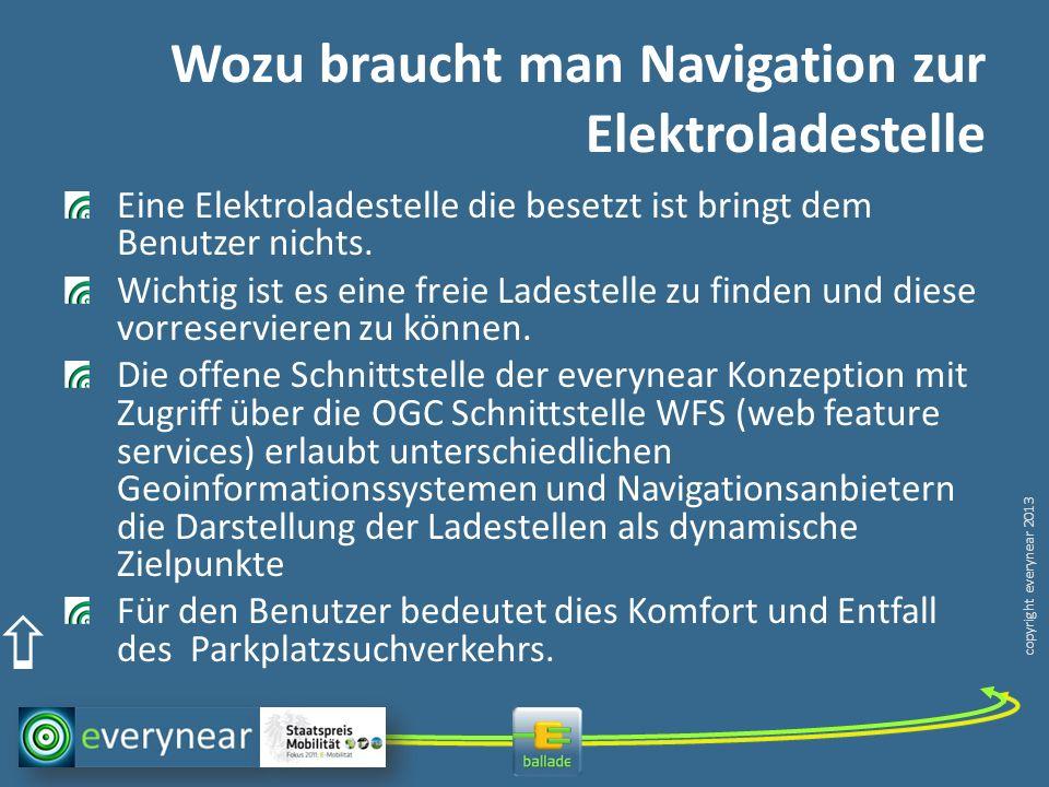copyright everynear 2013 Wozu braucht man Navigation zur Elektroladestelle Eine Elektroladestelle die besetzt ist bringt dem Benutzer nichts.
