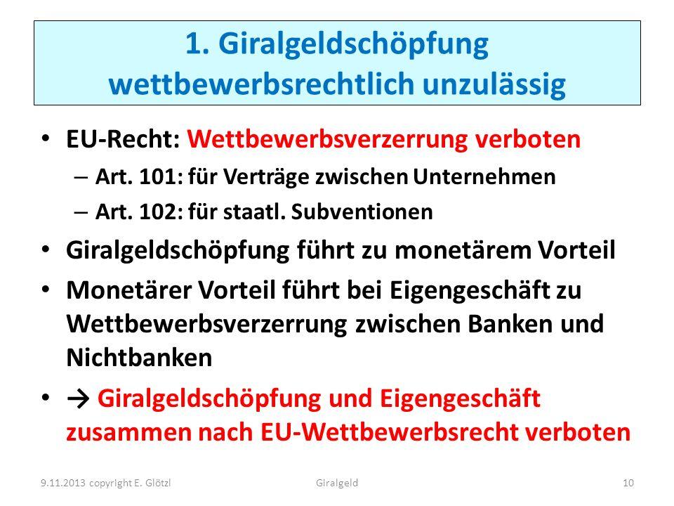 1. Giralgeldschöpfung wettbewerbsrechtlich unzulässig EU-Recht: Wettbewerbsverzerrung verboten – Art. 101: für Verträge zwischen Unternehmen – Art. 10