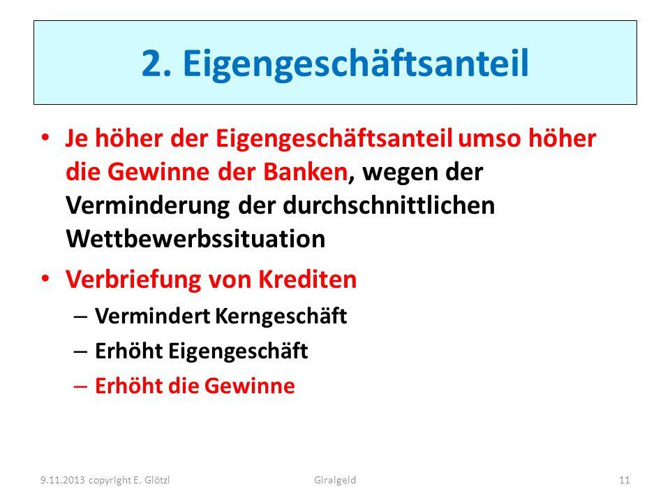 2. Eigengeschäftsanteil Je höher der Eigengeschäftsanteil umso höher die Gewinne der Banken, wegen der Verminderung der durchschnittlichen Wettbewerbs