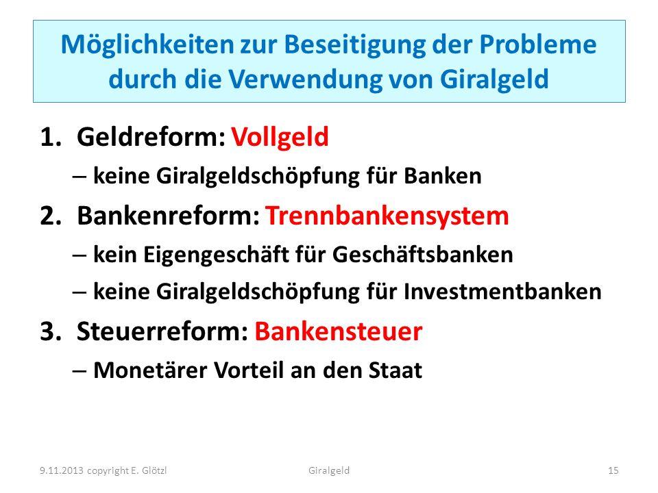 Möglichkeiten zur Beseitigung der Probleme durch die Verwendung von Giralgeld 1.Geldreform: Vollgeld – keine Giralgeldschöpfung für Banken 2.Bankenref