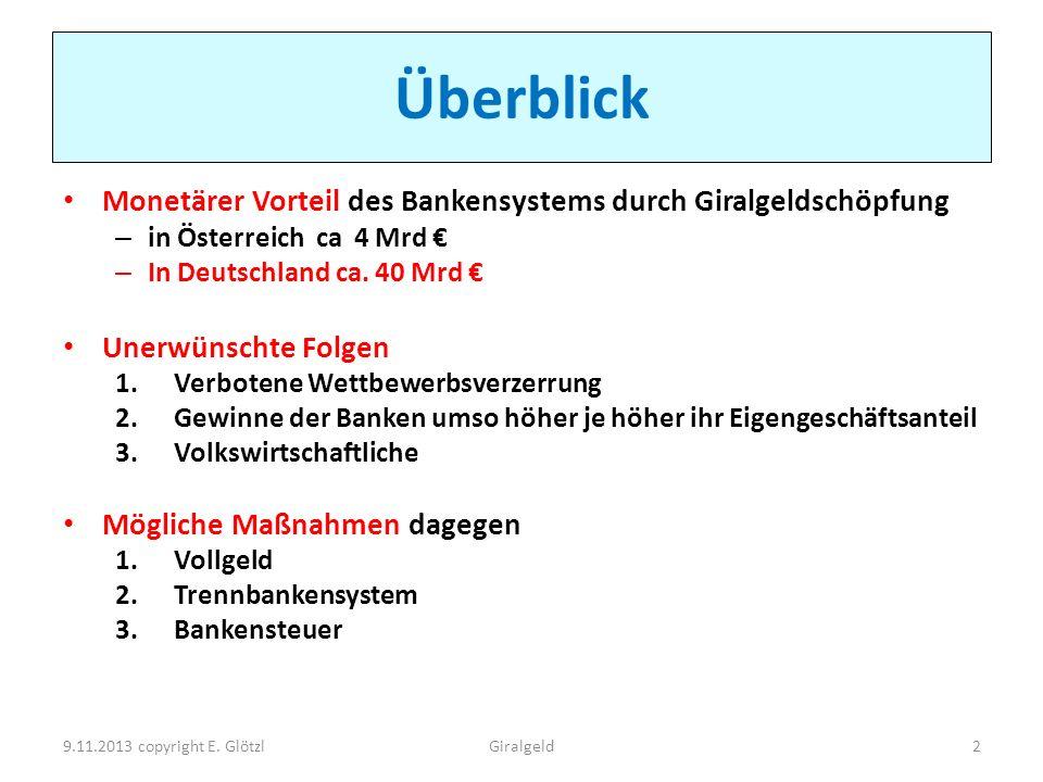 Überblick Monetärer Vorteil des Bankensystems durch Giralgeldschöpfung – in Österreich ca 4 Mrd – In Deutschland ca. 40 Mrd Unerwünschte Folgen 1.Verb