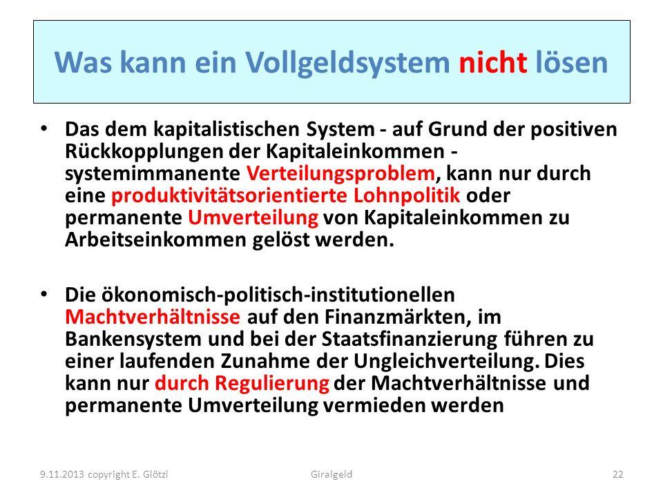 Was kann ein Vollgeldsystem nicht lösen Das dem kapitalistischen System - auf Grund der positiven Rückkopplungen der Kapitaleinkommen - systemimmanent