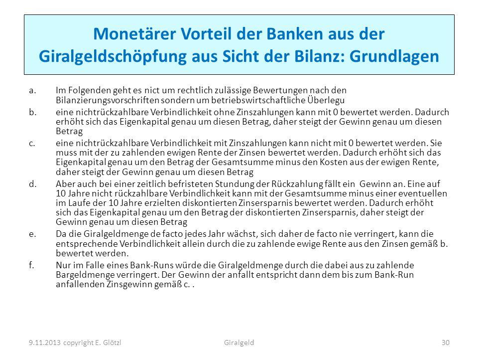 Monetärer Vorteil der Banken aus der Giralgeldschöpfung aus Sicht der Bilanz: Grundlagen a.Im Folgenden geht es nict um rechtlich zulässige Bewertunge