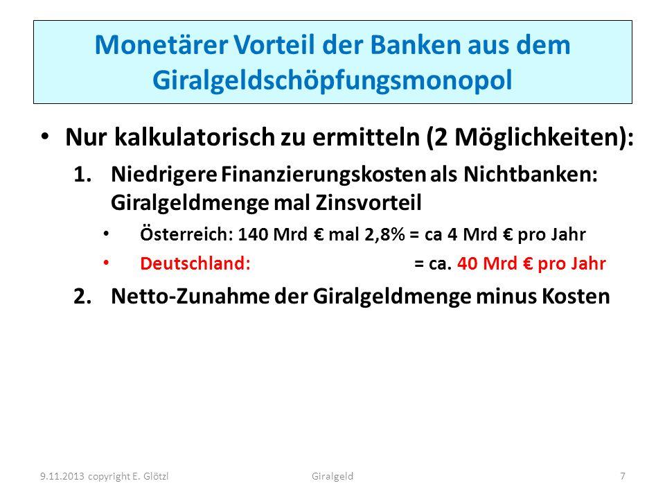 Monetärer Vorteil der Banken aus dem Giralgeldschöpfungsmonopol Nur kalkulatorisch zu ermitteln (2 Möglichkeiten): 1.Niedrigere Finanzierungskosten al