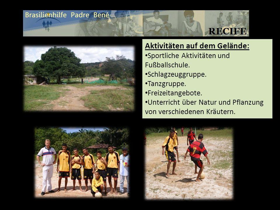 Aktivitäten auf dem Gelände: Sportliche Aktivitäten und Fußballschule. Schlagzeuggruppe. Tanzgruppe. Freizeitangebote. Unterricht über Natur und Pflan