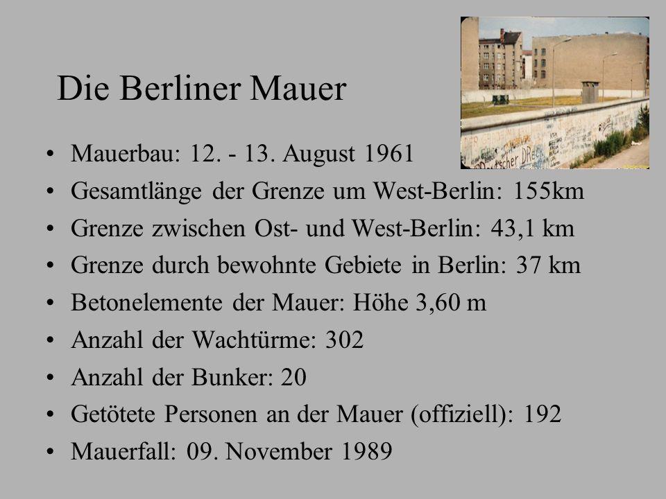Die Berliner Mauer Mauerbau: 12. - 13. August 1961 Gesamtlänge der Grenze um West-Berlin: 155km Grenze zwischen Ost- und West-Berlin: 43,1 km Grenze d