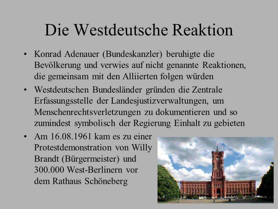 Die Reaktion der DDR Die politische Führung feiert den Bau der Mauer, es ging ihnen nur darum den Flüchtlingsstrom zu stoppen Die Bürger der DDR ergaben sich zumeist der Mauer - nur wenige versuchten zu fliehen