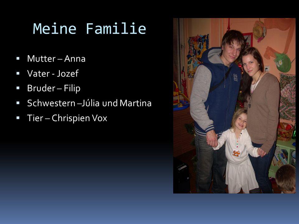Meine Familie Mutter – Anna Vater - Jozef Bruder – Filip Schwestern –Júlia und Martina Tier – Chrispien Vox