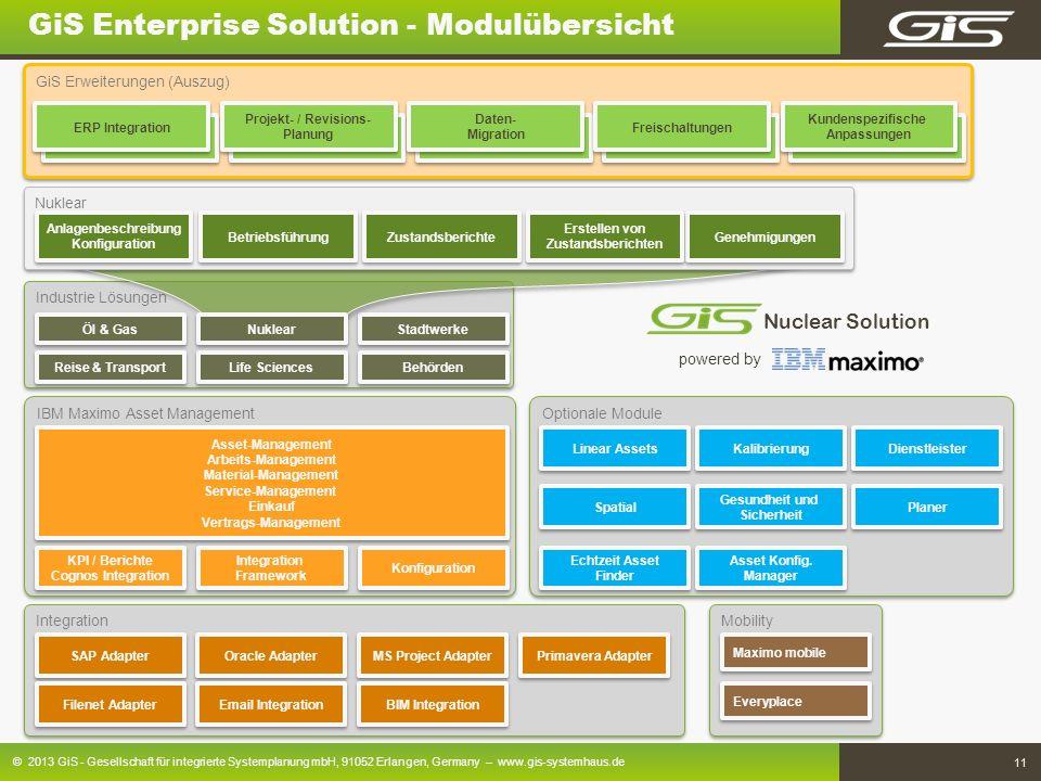 © 2013 GiS - Gesellschaft für integrierte Systemplanung mbH, 91052 Erlangen, Germany – www.gis-systemhaus.de 11 Mobility IBM Maximo Asset Management G