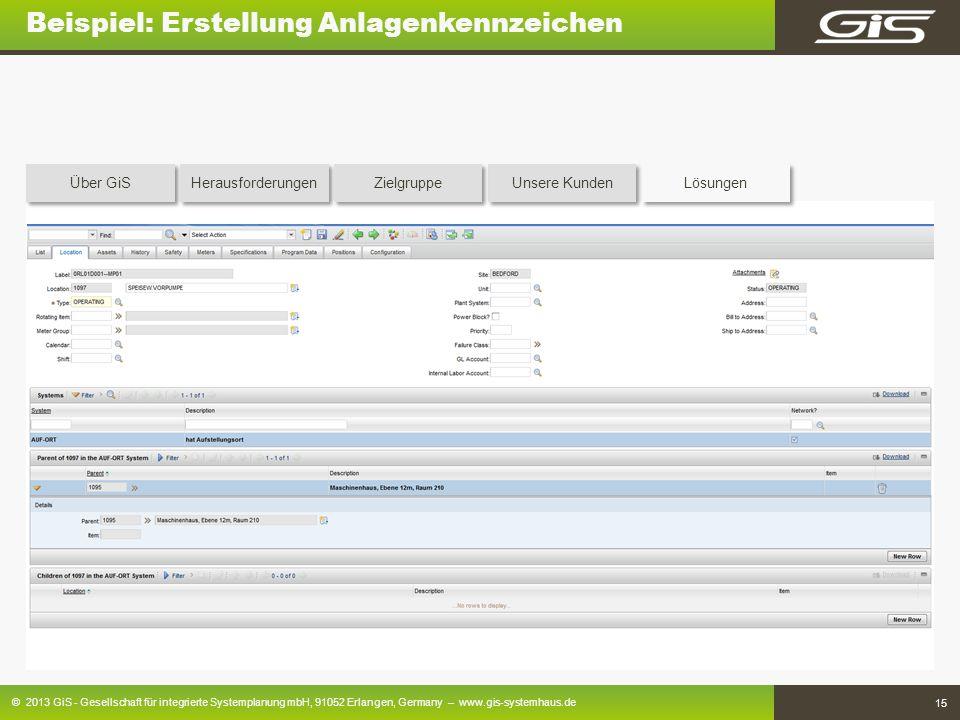 © 2013 GiS - Gesellschaft für integrierte Systemplanung mbH, 91052 Erlangen, Germany – www.gis-systemhaus.de 15 Beispiel: Erstellung Anlagenkennzeiche