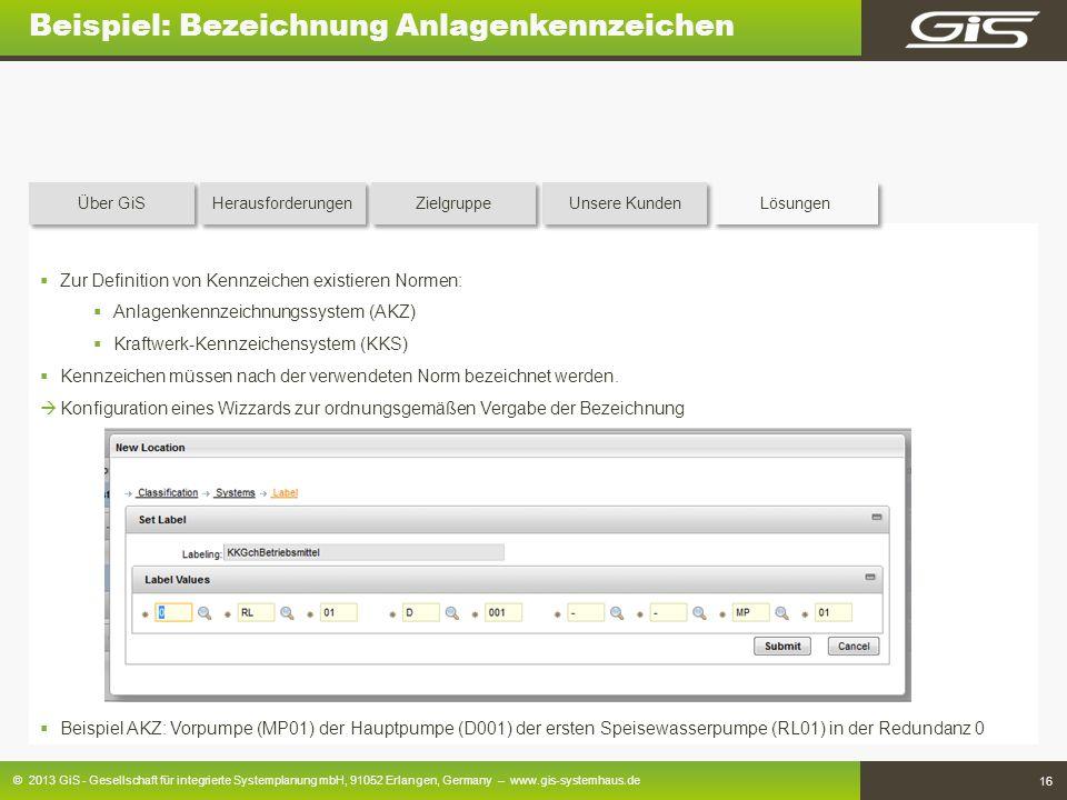 © 2013 GiS - Gesellschaft für integrierte Systemplanung mbH, 91052 Erlangen, Germany – www.gis-systemhaus.de 16 Beispiel: Bezeichnung Anlagenkennzeich