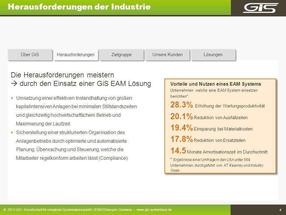 © 2013 GiS - Gesellschaft für integrierte Systemplanung mbH, 91052 Erlangen, Germany – www.gis-systemhaus.de 4 Herausforderungen der Industrie Die Her