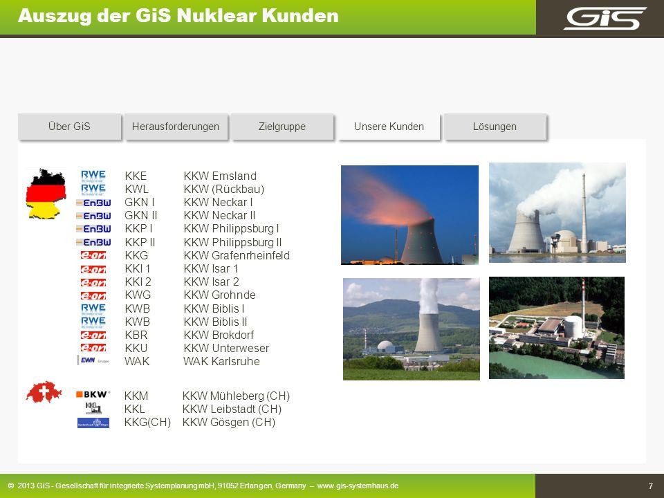 © 2013 GiS - Gesellschaft für integrierte Systemplanung mbH, 91052 Erlangen, Germany – www.gis-systemhaus.de 7 Auszug der GiS Nuklear Kunden KKE KKW E