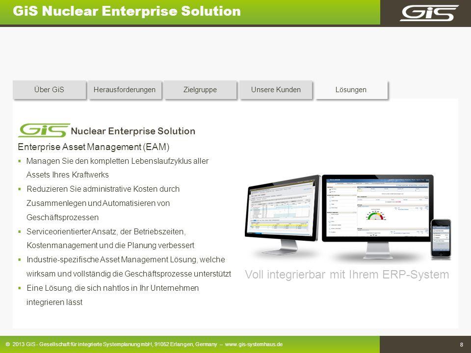 © 2013 GiS - Gesellschaft für integrierte Systemplanung mbH, 91052 Erlangen, Germany – www.gis-systemhaus.de 8 GiS Nuclear Enterprise Solution Enterpr
