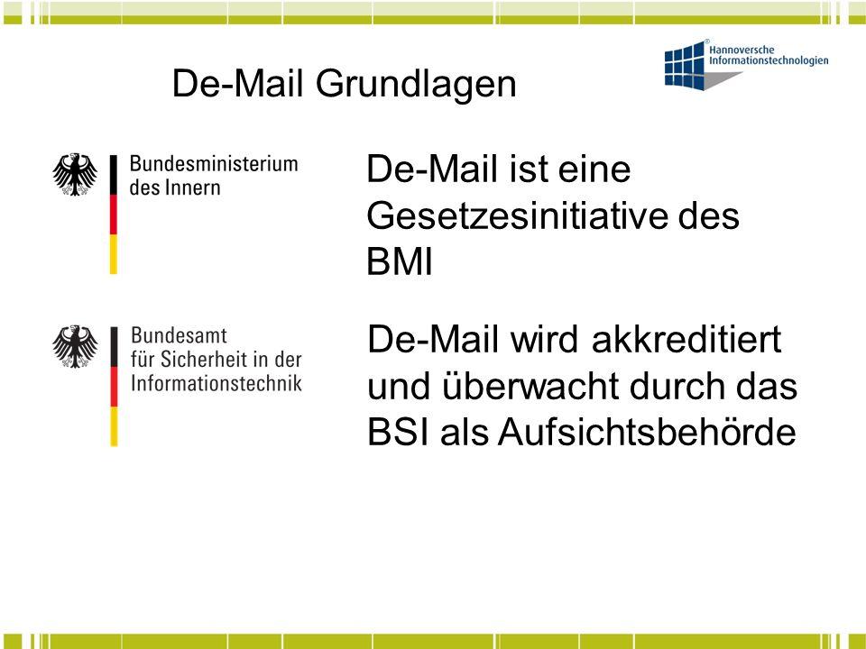 De-Mail Grundlagen Es wird akkreditiert, wer Zuverlässigkeit und Fachkunde (Zeugnisse und Nachweise des Personals) eine Deckungsvorsorge (Haftpflichtversicherung im Schadensfall) TOM (technische und organisatorische Anforderungen §3 bis 13/16) Datenschutzkonformität nachweisen kann.