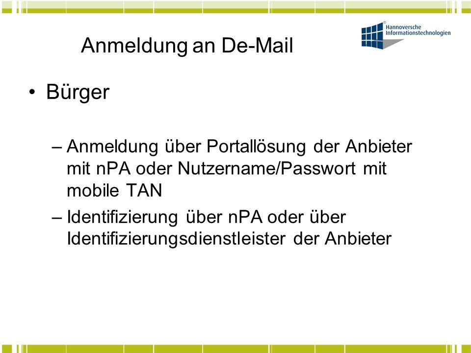 Anmeldung an De-Mail Unternehmen/Behörden –Anmeldung über Portallösung der Anbieter mit nPA oder Nutzername/Passwort mit mobile TAN –Nutzung einer Gateway-Lösung der Anbieter –Identifizierung über nPA oder über Identifizierungsdienstleister der Anbieter –Einreichen diverser Unterlagen zur Freischaltung