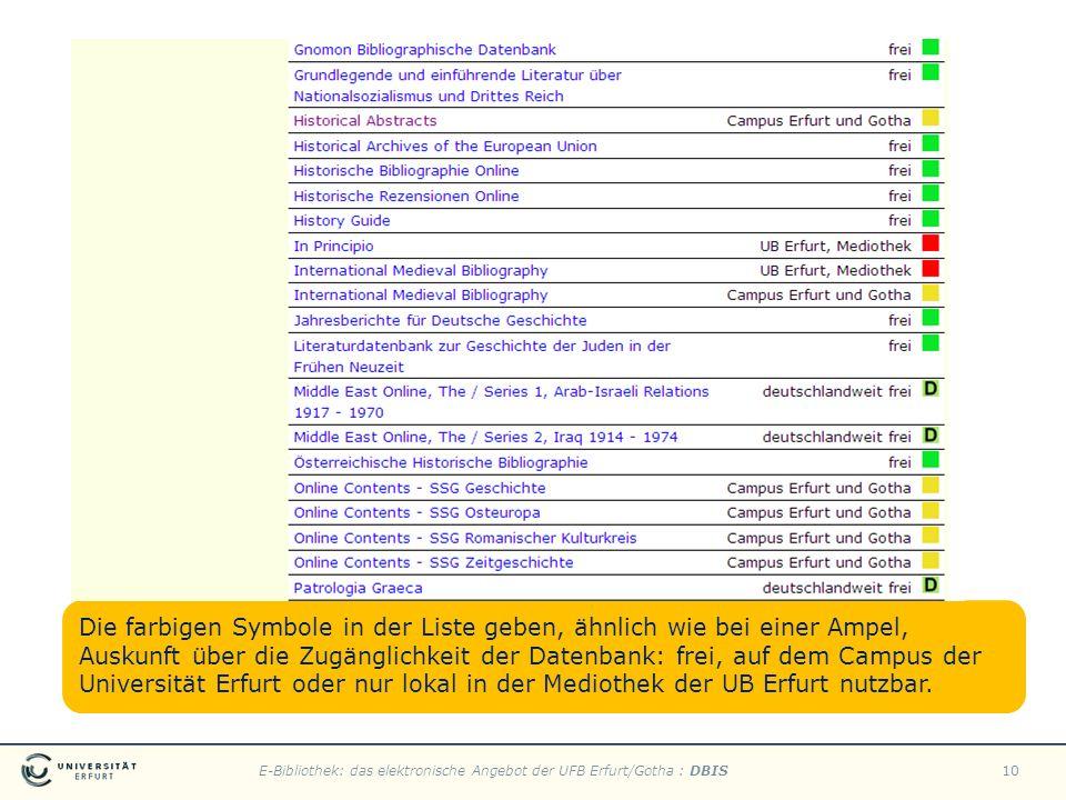 E-Bibliothek: das elektronische Angebot der UFB Erfurt/Gotha : DBIS10 Die farbigen Symbole in der Liste geben, ähnlich wie bei einer Ampel, Auskunft ü