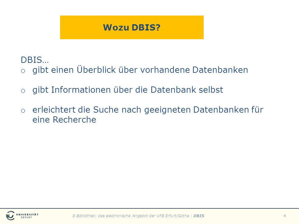 E-Bibliothek: das elektronische Angebot der UFB Erfurt/Gotha : DBIS4 Wozu DBIS? DBIS… o gibt einen Überblick über vorhandene Datenbanken o gibt Inform