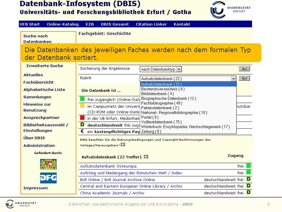 E-Bibliothek: das elektronische Angebot der UFB Erfurt/Gotha : DBIS9 Die Datenbanken des jeweiligen Faches werden nach dem formalen Typ der Datenbank