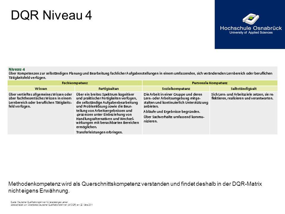 DQR Niveau 4 Methodenkompetenz wird als Querschnittskompetenz verstanden und findet deshalb in der DQR-Matrix nicht eigens Erwähnung. Quelle: Deutsche