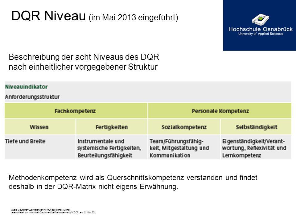 DQR Niveau (im Mai 2013 eingeführt) Beschreibung der acht Niveaus des DQR nach einheitlicher vorgegebener Struktur Methodenkompetenz wird als Querschn