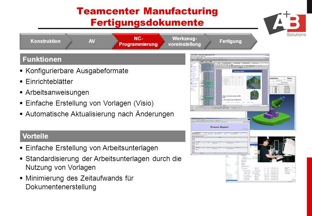 Teamcenter Manufacturing Fertigungsdokumente Fertigung Werkzeug- voreinstellung NC- Programmierung AV Konstruktion Funktionen Vorteile Konfigurierbare