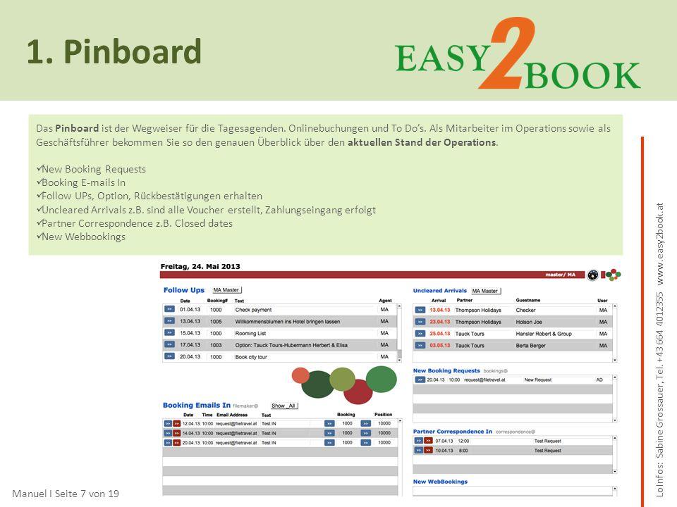 1.Pinboard Lo Manuel I Seite 7 von 19 Das Pinboard ist der Wegweiser für die Tagesagenden.