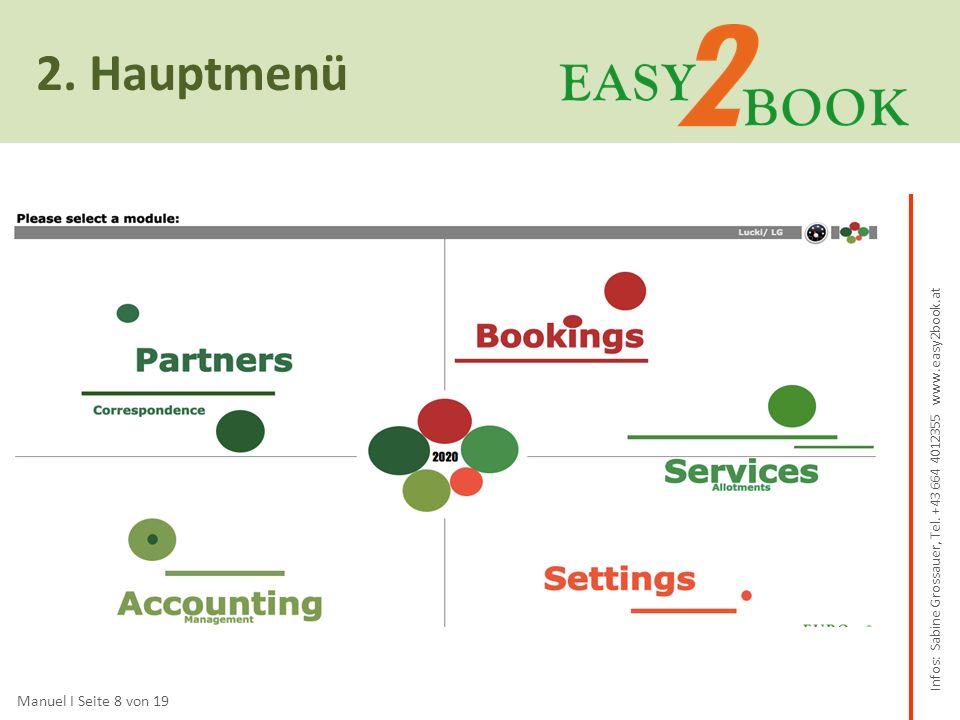 3.Einige Funktionen Manuel I Seite 16 von 19 im Detail und zum besseren Verständnis Das Anlegen von Buchungen basiert auf den zuvor eingegebenen Daten in den Partners und Services bzw.