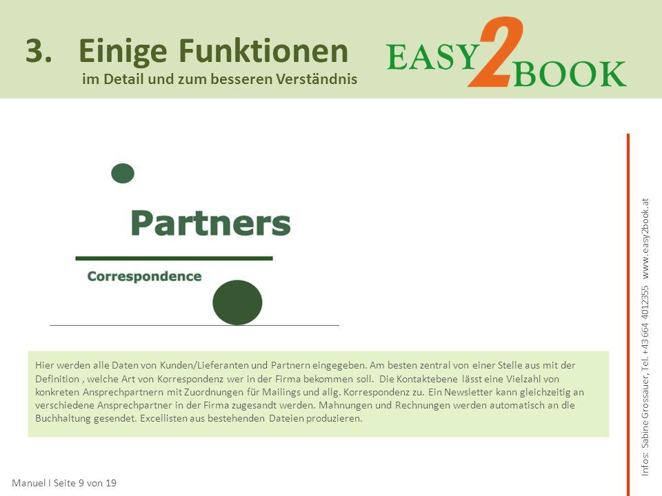 3. Einige Funktionen Manuel I Seite 9 von 19 im Detail und zum besseren Verständnis Hier werden alle Daten von Kunden/Lieferanten und Partnern eingege
