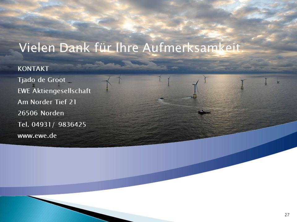 Vielen Dank für Ihre Aufmerksamkeit. KONTAKT Tjado de Groot EWE Aktiengesellschaft Am Norder Tief 21 26506 Norden Tel. 04931/ 9836425 www.ewe.de 27