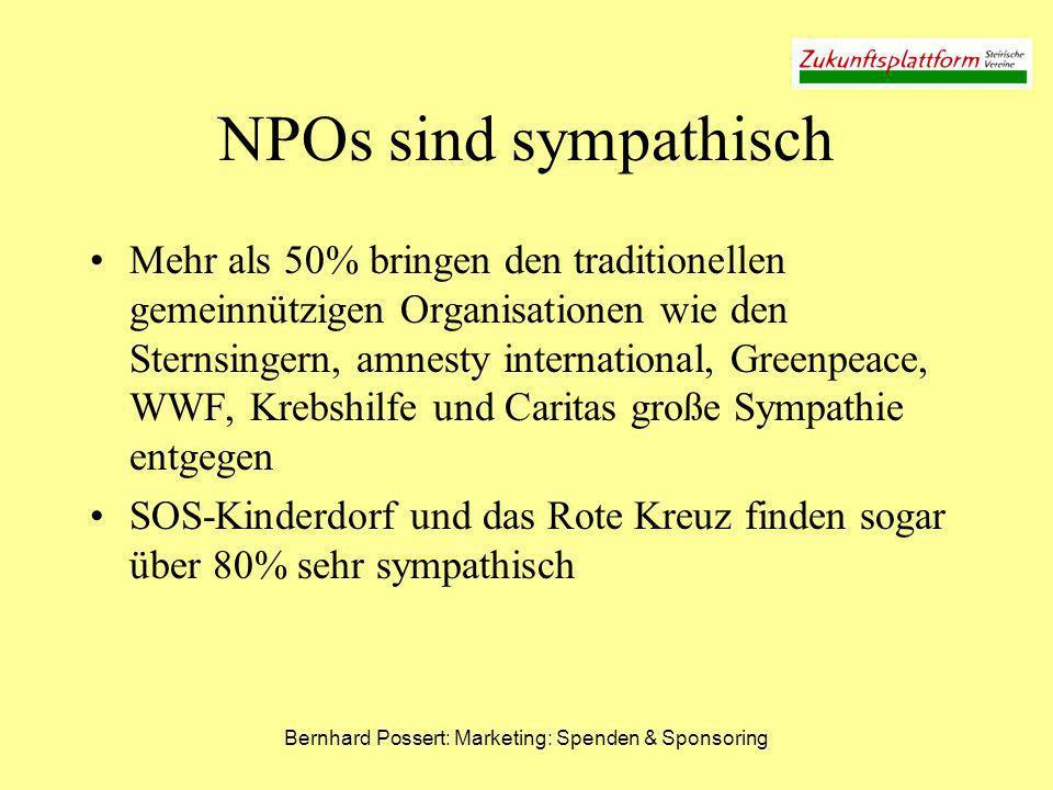 Bernhard Possert: Marketing: Spenden & Sponsoring NPOs sind sympathisch Mehr als 50% bringen den traditionellen gemeinnützigen Organisationen wie den
