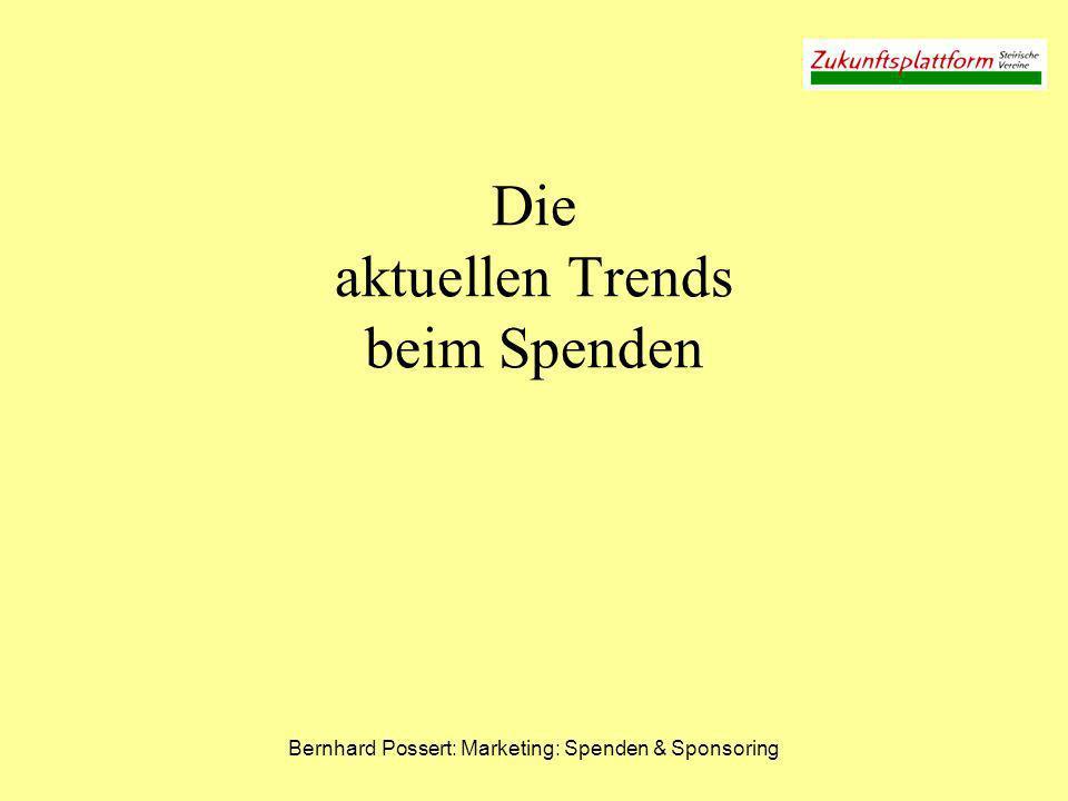 Bernhard Possert: Marketing: Spenden & Sponsoring Die aktuellen Trends beim Spenden