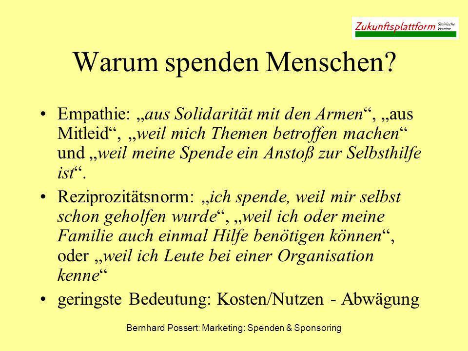 Bernhard Possert: Marketing: Spenden & Sponsoring Warum spenden Menschen? Empathie: aus Solidarität mit den Armen, aus Mitleid, weil mich Themen betro