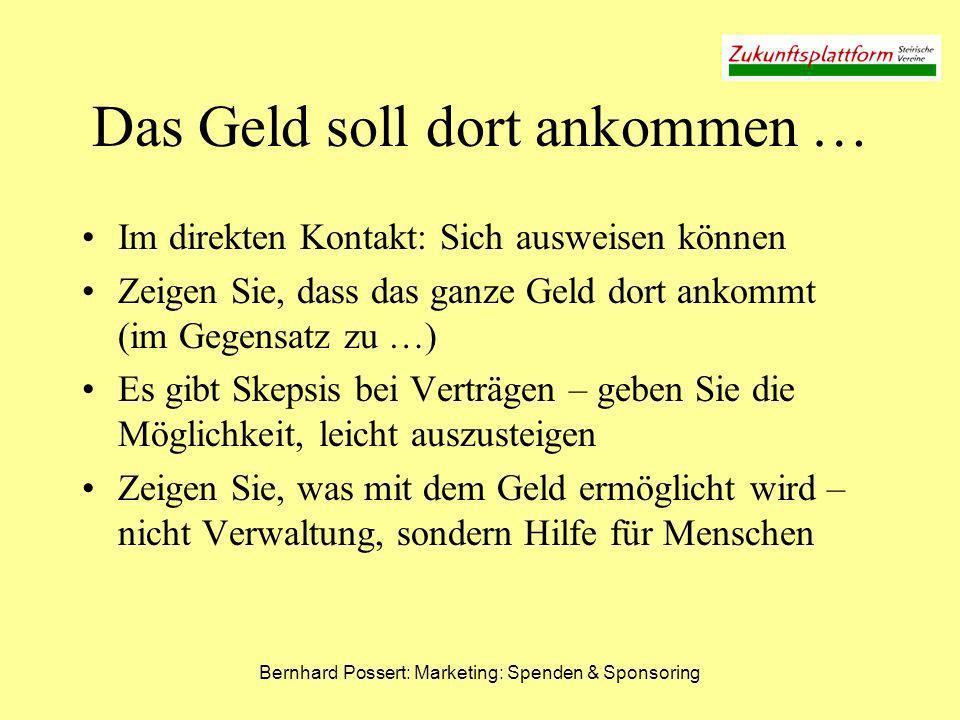Bernhard Possert: Marketing: Spenden & Sponsoring Das Geld soll dort ankommen … Im direkten Kontakt: Sich ausweisen können Zeigen Sie, dass das ganze