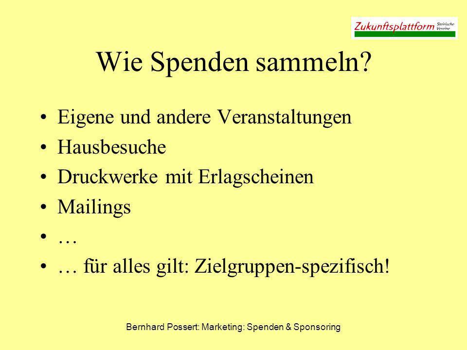 Bernhard Possert: Marketing: Spenden & Sponsoring Wie Spenden sammeln? Eigene und andere Veranstaltungen Hausbesuche Druckwerke mit Erlagscheinen Mail