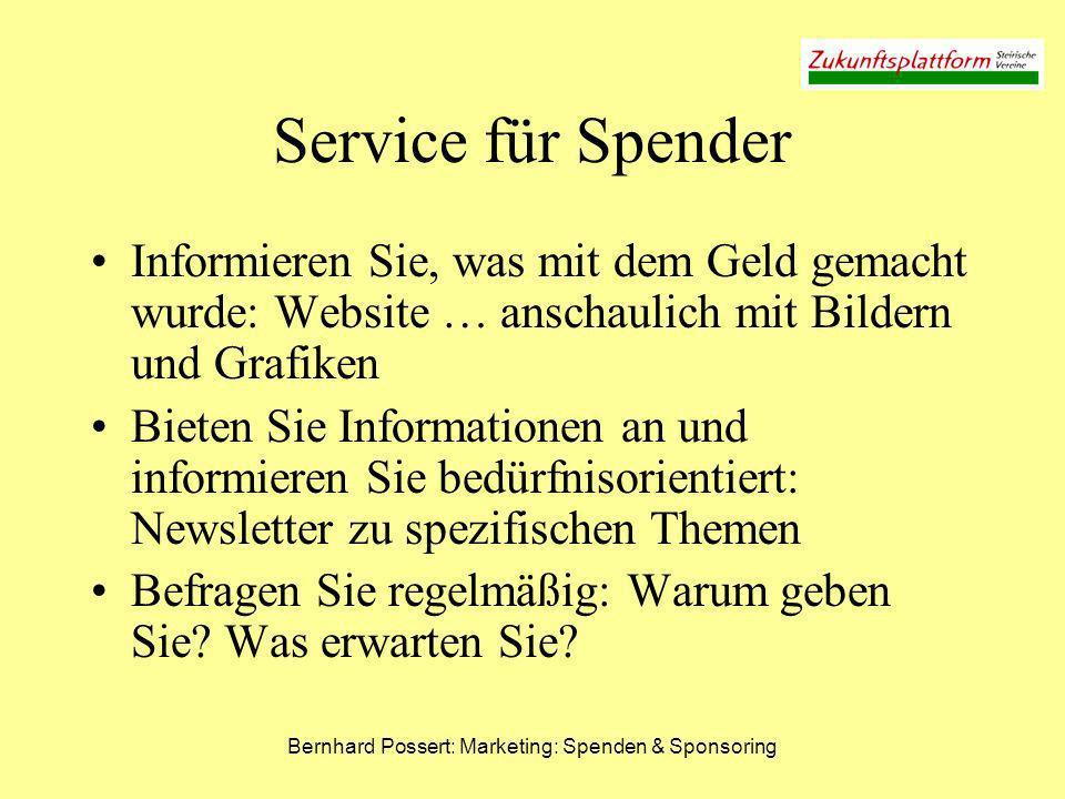 Bernhard Possert: Marketing: Spenden & Sponsoring Service für Spender Informieren Sie, was mit dem Geld gemacht wurde: Website … anschaulich mit Bilde