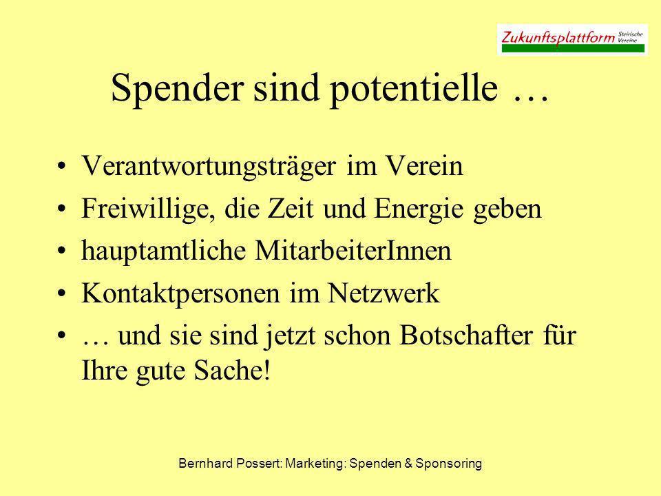 Bernhard Possert: Marketing: Spenden & Sponsoring Spender sind potentielle … Verantwortungsträger im Verein Freiwillige, die Zeit und Energie geben ha