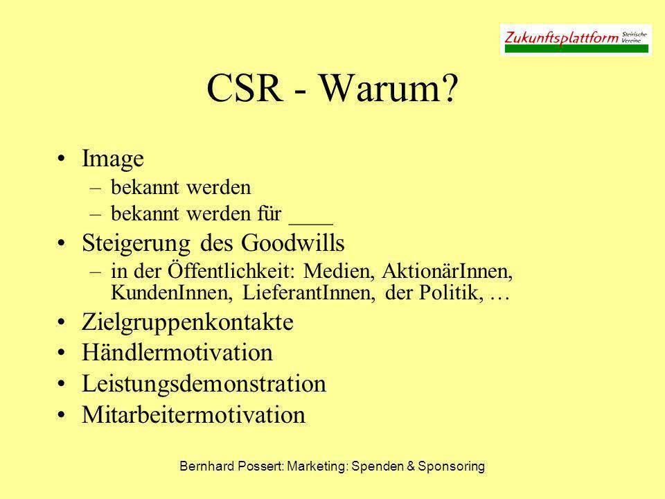 Bernhard Possert: Marketing: Spenden & Sponsoring CSR - Warum? Image –bekannt werden –bekannt werden für ____ Steigerung des Goodwills –in der Öffentl