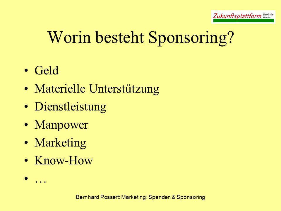 Bernhard Possert: Marketing: Spenden & Sponsoring Worin besteht Sponsoring? Geld Materielle Unterstützung Dienstleistung Manpower Marketing Know-How …