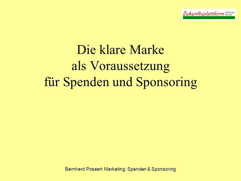 Bernhard Possert: Marketing: Spenden & Sponsoring Die vier großen Qualitäten von Marken Corporate Identity (CI) Corporate Product Qualities (CPQ) (= Leistungen) Corporate Culture (CC) (= Organisationskultur) Corporate Design (CD) (= äußeres Erscheinungsbild)